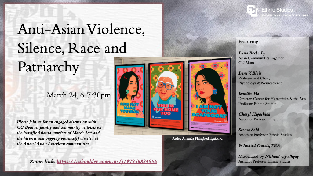 Invitation to Panel on Anti-Asian Violence, March 2021